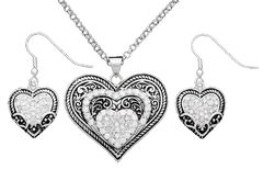 Montana Silversmiths Cubic Zirconia Heart in Heart Necklace & Earrings Set, , hi-res