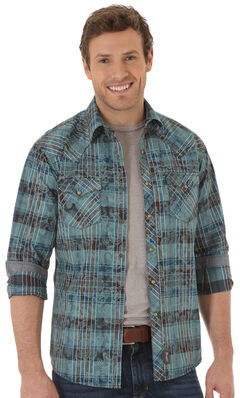 Wrangler Retro Men's Plaid Paisley Western Shirt, , hi-res