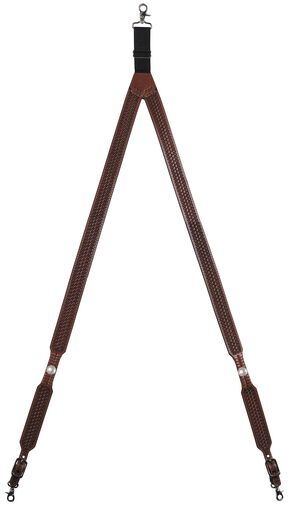 3D Basketweave Buffalo Concho Suspenders - XL, Tan, hi-res