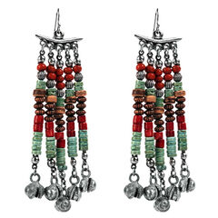 Treska Women's Cowtown Long Beaded Fringe Earrings , , hi-res