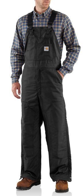 Carhartt Men's Flame-Resistant Midweight Quilt-Lined Bib Overalls, Black, hi-res