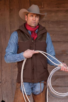 STS Ranchwear Men's Lucas Down Style Brown Vest - Big & Tall - 4XL, Brown, hi-res
