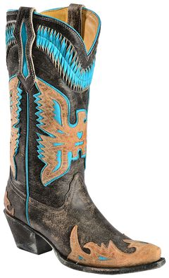 Corral Turquoise Eagle Overlay Cowgirl Boots - Snip Toe, , hi-res
