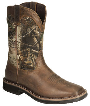 Justin Stampede Camo Waterproof Pull-On Work Boots, Camouflage, hi-res