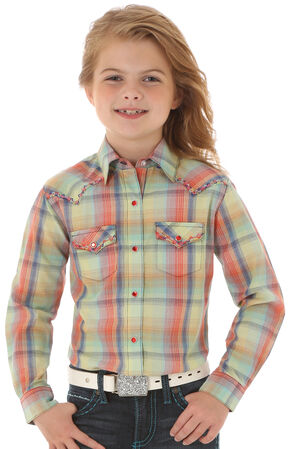 Wrangler Rock 47 Girls' Long Sleeve Multi-Color Plaid Shirt, Multi, hi-res