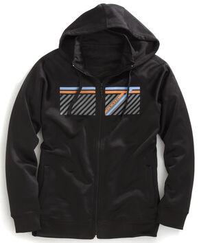 Tin Haul Men's Striped Logo Zip-Up Hoodie, Black, hi-res
