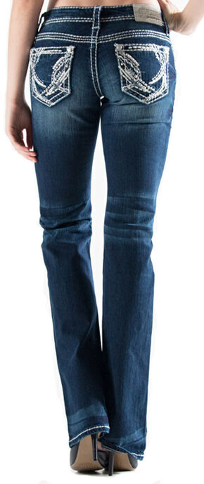Grace in LA Women's Dark Wash Abstract Easy Fit Bootcut Jeans , Indigo, hi-res