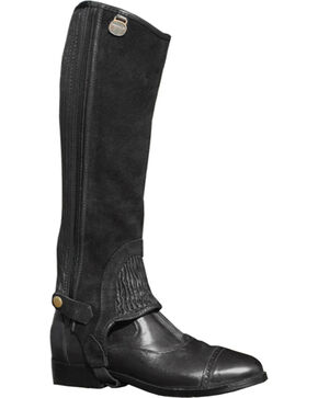 Ovation Kids' Suede Stitched Rib Half Chaps, Black, hi-res
