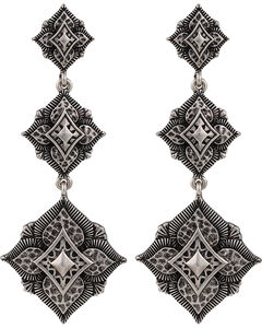 Montana Silversmiths Antique Silver Flower Dangle Earrings, , hi-res