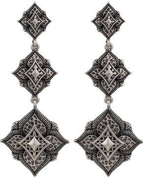 Montana Silversmiths Antique Silver Flower Dangle Earrings, Antique Silver, hi-res