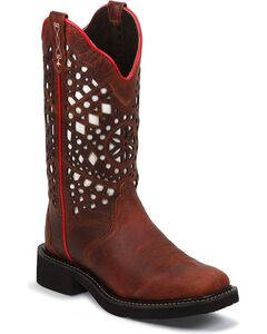 Justin Gypsy Redwood Buffalo Laser Cut Cowgirl Boots - Square Toe, , hi-res