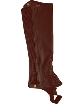 Ovation Kids' Pro Top Grain Leather Half Chaps, Brown, hi-res