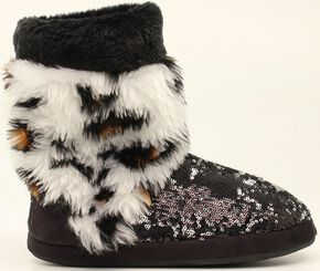 Blazin Roxx Leopard Print Furry Sequin Slipper Booties, Black, hi-res