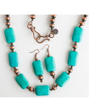 West & Co. Women's Worn Copper Turquoise Stone Jewelry Set, Rust Copper, hi-res
