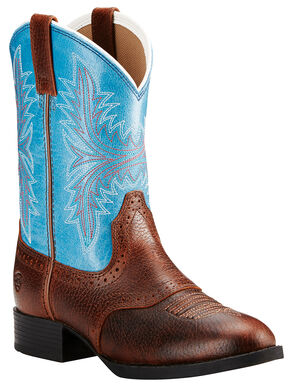 Ariat Youth Girls' Dark Brown Heritage Hackamore Boots - Round Toe , Dark Brown, hi-res