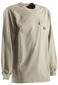 Berne Khaki Long Sleeve Flame Resistant Crew Neck T-Shirt - 2XT, , hi-res