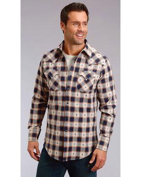 Stetson Men's Modern Fit Dobby Plaid Long Sleeve Snap Shirt - Big & Tall, Blue, hi-res