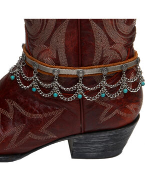 Cowgirl Confetti by AndWest Leather, Chain, & Turquoise Bead Boot Bracelet, Multi, hi-res