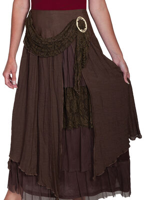 Scully Women's Linen & Lace Maxi Skirt, Brown, hi-res
