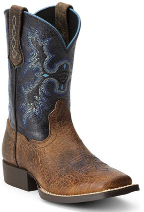 Ariat Boys' Tombstone Cowboy Boots - Square Toe, Earth, hi-res