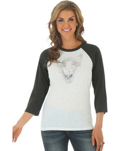 Wrangler Women's Metallic Steerhead Baseball Tee, , hi-res