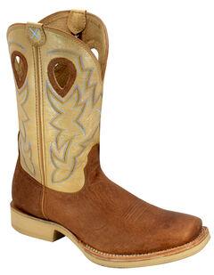 Twisted X Tan and Brown Horseman Cowboy Boots - Square Toe, , hi-res
