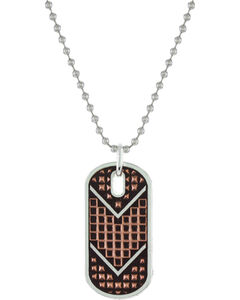 Montana Silversmiths Men's CrossCut Mesh Dog Tag Necklace, , hi-res