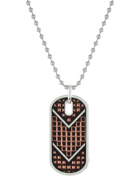 Montana Silversmiths Men's CrossCut Mesh Dog Tag Necklace, Silver, hi-res