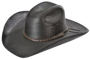Larry Mahan 30X Lawton Palm Straw Cowboy Hat, Black, hi-res
