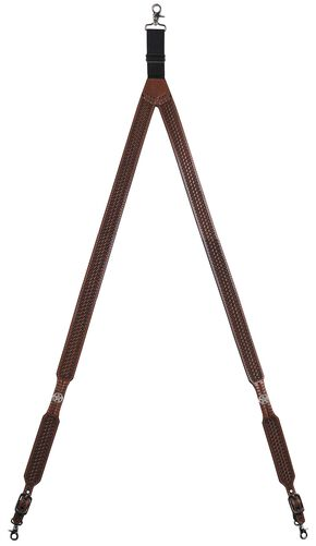 3D Basketweave Star Concho Suspenders - XL, Tan, hi-res