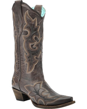 Corral Vintage Brown Scalloped Cowgirl Boots - Snip Toe , Brown, hi-res