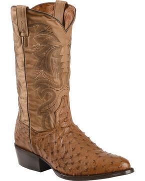 Dan Post Tempe Full Quill Ostrich Cowboy Boots - Round Toe, Saddle Tan, hi-res