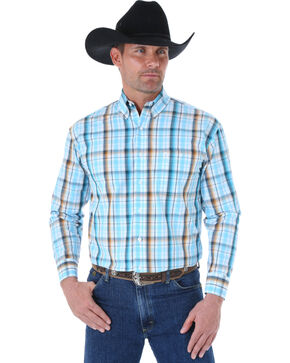 Wrangler George Strait Men's Turquoise and Brown Plaid Western Shirt , White, hi-res