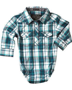 Cody James Infant Boys' Plaid Long Sleeve Onesie , Blue, hi-res
