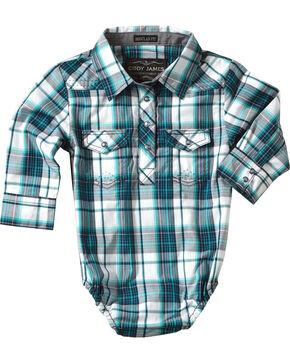 Cody James Infant Boys' Plaid Long Sleeve Onesie , Blue, hi-res