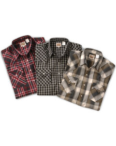 Ely Assorted Plaid or Stripe Short Sleeve Western Shirt, , hi-res