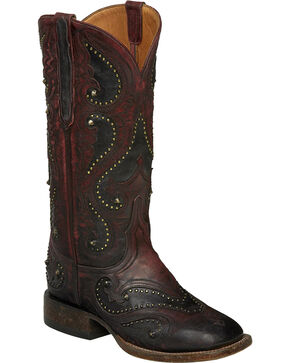 Lucchese Red Ombre Rita Cowgirl Boots - Square Toe , Red, hi-res