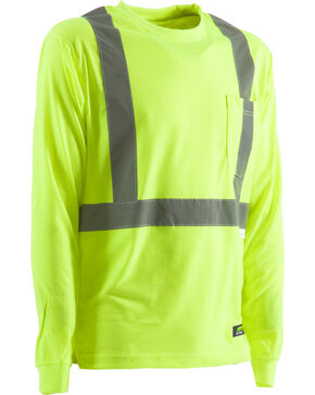 Berne Hi-Visibility Long Sleeve Pocket T-Shirt - 2XT, 3XT, and 4XT, Yellow, hi-res