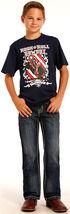Rock & Roll Cowboy Boys' Indigo Large Khaki and Ivory V Embroidery Jeans - Boot Cut, Indigo, hi-res