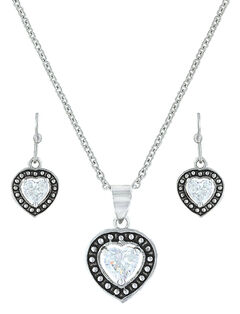 Montana Silversmiths Pin Point Framed Heart Jewelry Set , , hi-res