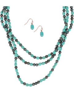 Shyanne® Women's Turquoise Oval Beaded Jewelry Set, Turquoise, hi-res