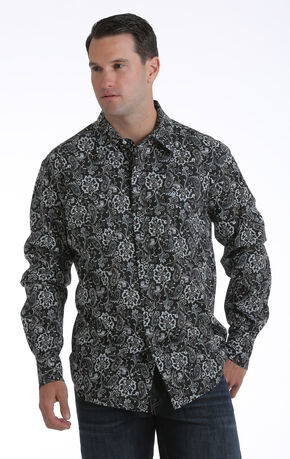Garth Brooks Sevens by Cinch Men's Black Paisley Print Western Shirt, Black, hi-res
