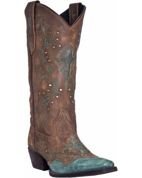 Laredo Cross Point Cowgirl Boots - Snip Toe, Turquoise, hi-res