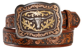 Tony Lama San Antonio Steerhead Buckle Tooled Leather Belt - Reg & Big, Tan, hi-res