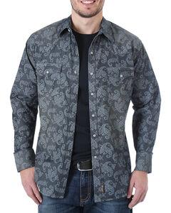 Wrangler Men's Paisley Long Sleeve Snap Shirt, , hi-res