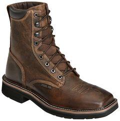"Justin Stampede 8"" Lace-Up Work Boots - Steel Toe, Rugged, hi-res"