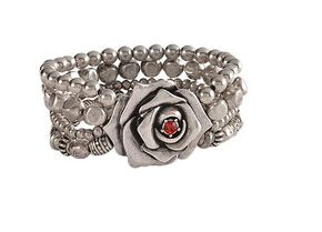 Montana Silversmiths Antiqued Silver-Tone Beaded Rose Bracelet, Silver, hi-res