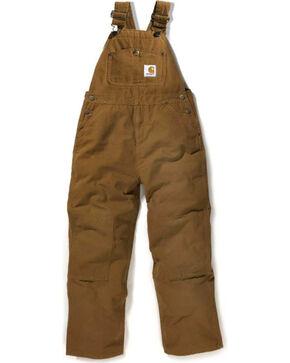 Carhartt Boy's Duck Washed Bib Overalls, Tan, hi-res