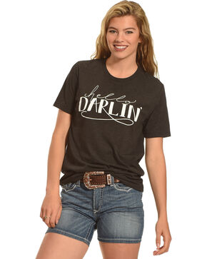 Cowgirl Justice Women's Hello Darlin' Crew Neck Tee, Black, hi-res