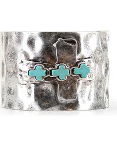 Shyanne Women's Antiqued Cross Cuff Bracelet, , hi-res